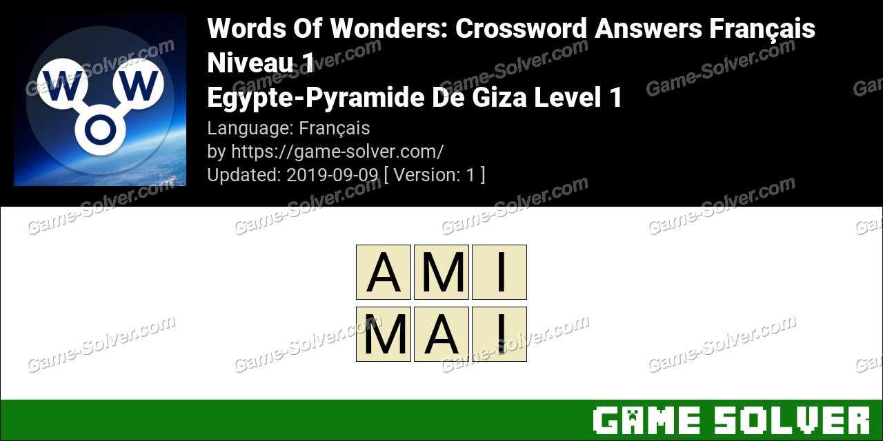 Words Of Wonders Egypte-Pyramide De Giza Level 1 Answers