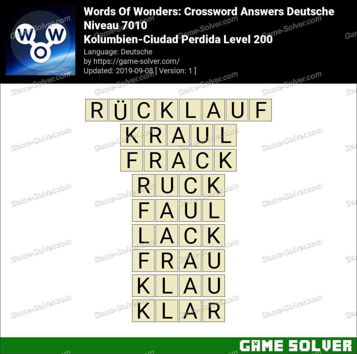 Words Of Wonders Kolumbien-Ciudad Perdida Level 200 Answers