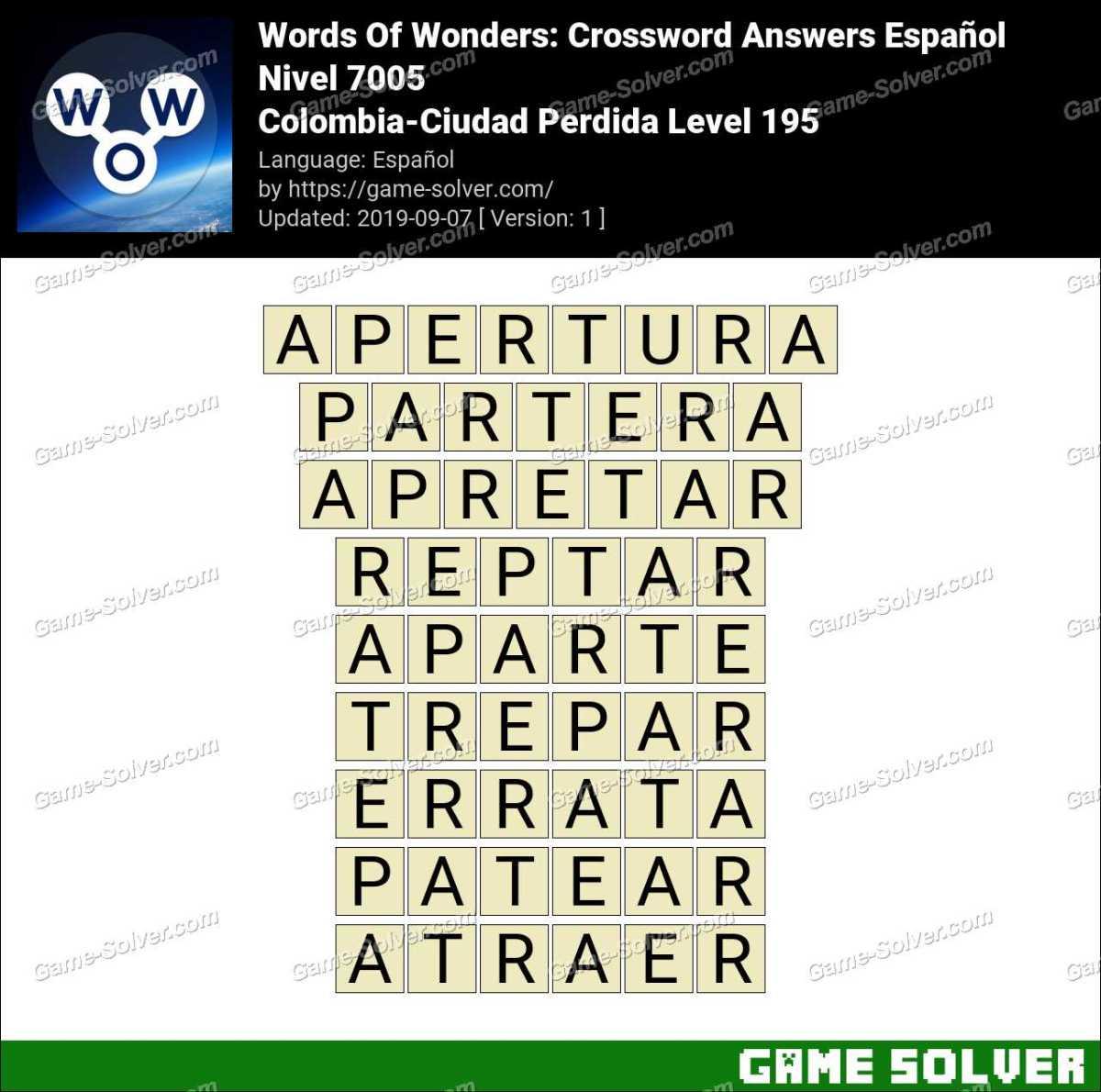 Words Of Wonders Colombia-Ciudad Perdida Level 195 Answers