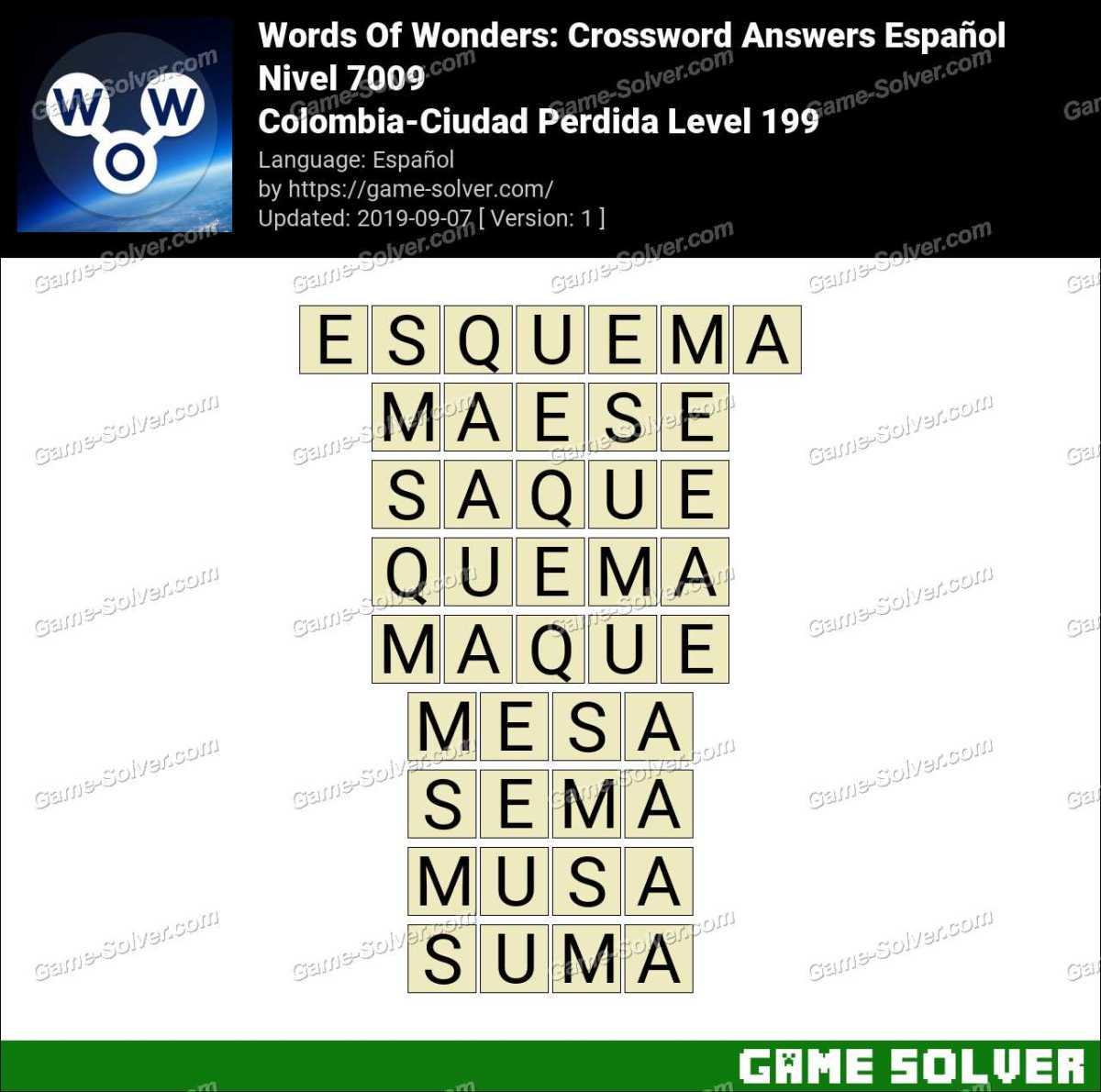 Words Of Wonders Colombia-Ciudad Perdida Level 199 Answers