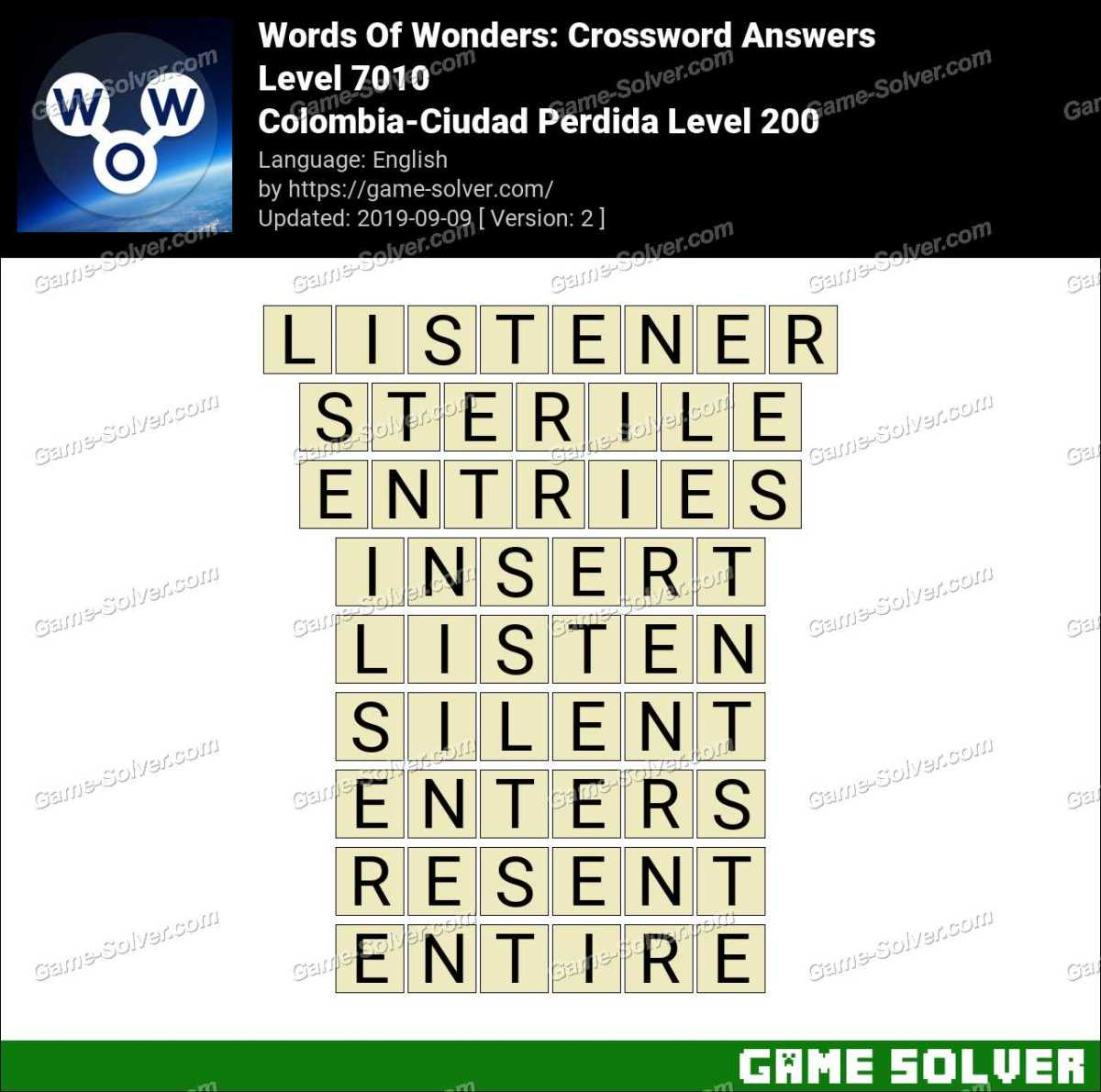 Words Of Wonders Colombia-Ciudad Perdida Level 200 Answers