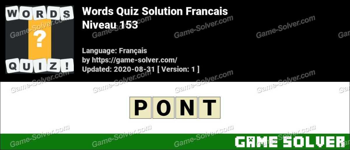 Words Quiz Francais Niveau 153