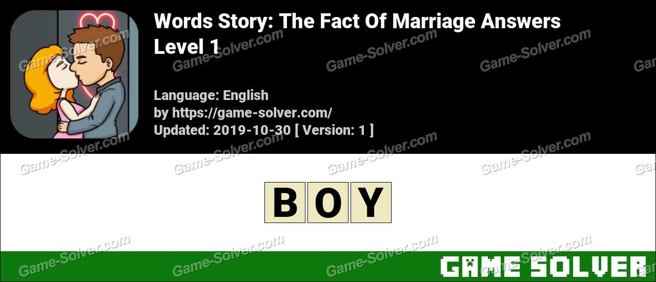Words Story The Fact Of Marriage Level 1 Answers