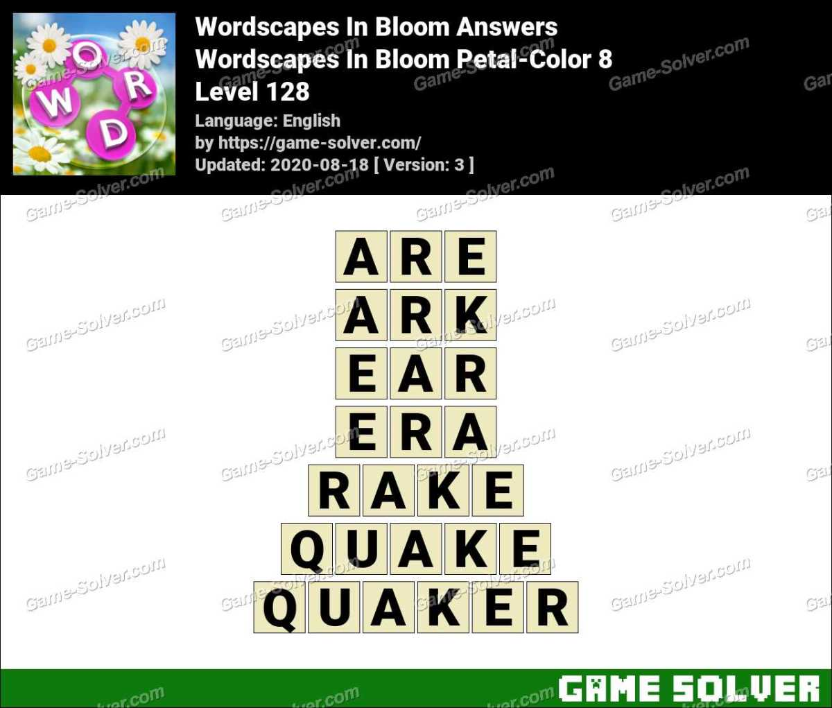 Wordscapes In Bloom Petal Color 8 Answers Game Solver