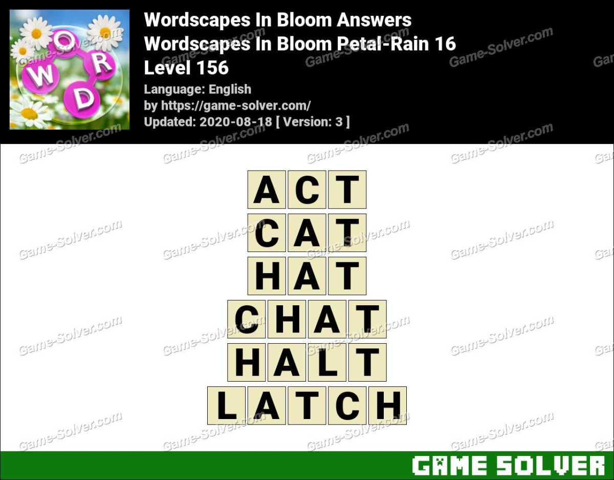 Wordscapes In Bloom Petal Rain 16 Answers Game Solver