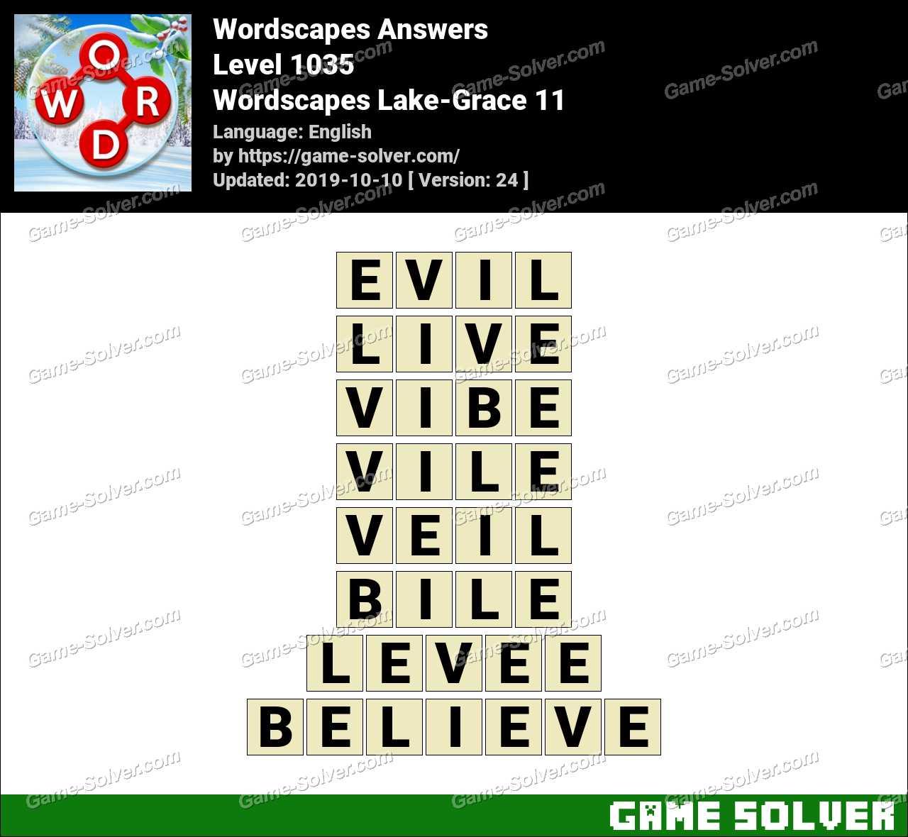 Wordscapes Lake-Grace 11 Answers