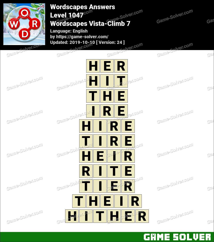 Wordscapes Vista-Climb 7 Answers