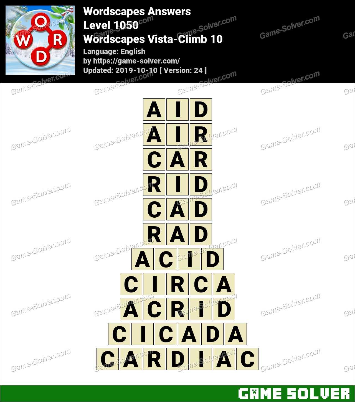 Wordscapes Vista-Climb 10 Answers