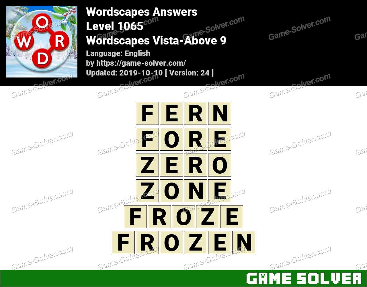 Wordscapes Vista-Above 9 Answers