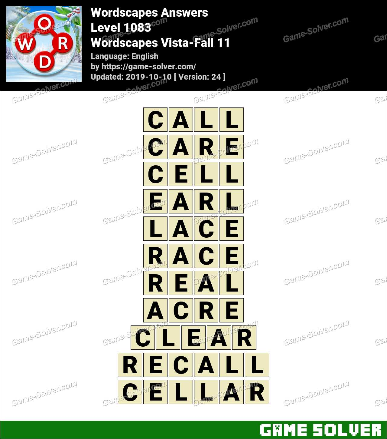 Wordscapes Vista-Fall 11 Answers