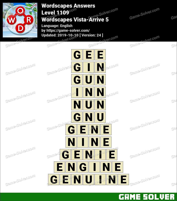 Wordscapes Vista-Arrive 5 Answers