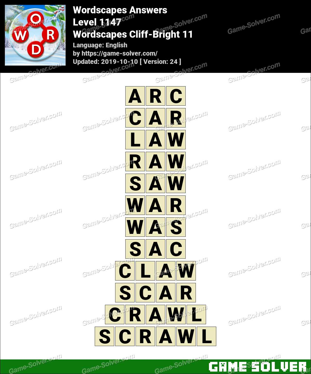 Wordscapes Cliff-Bright 11 Answers