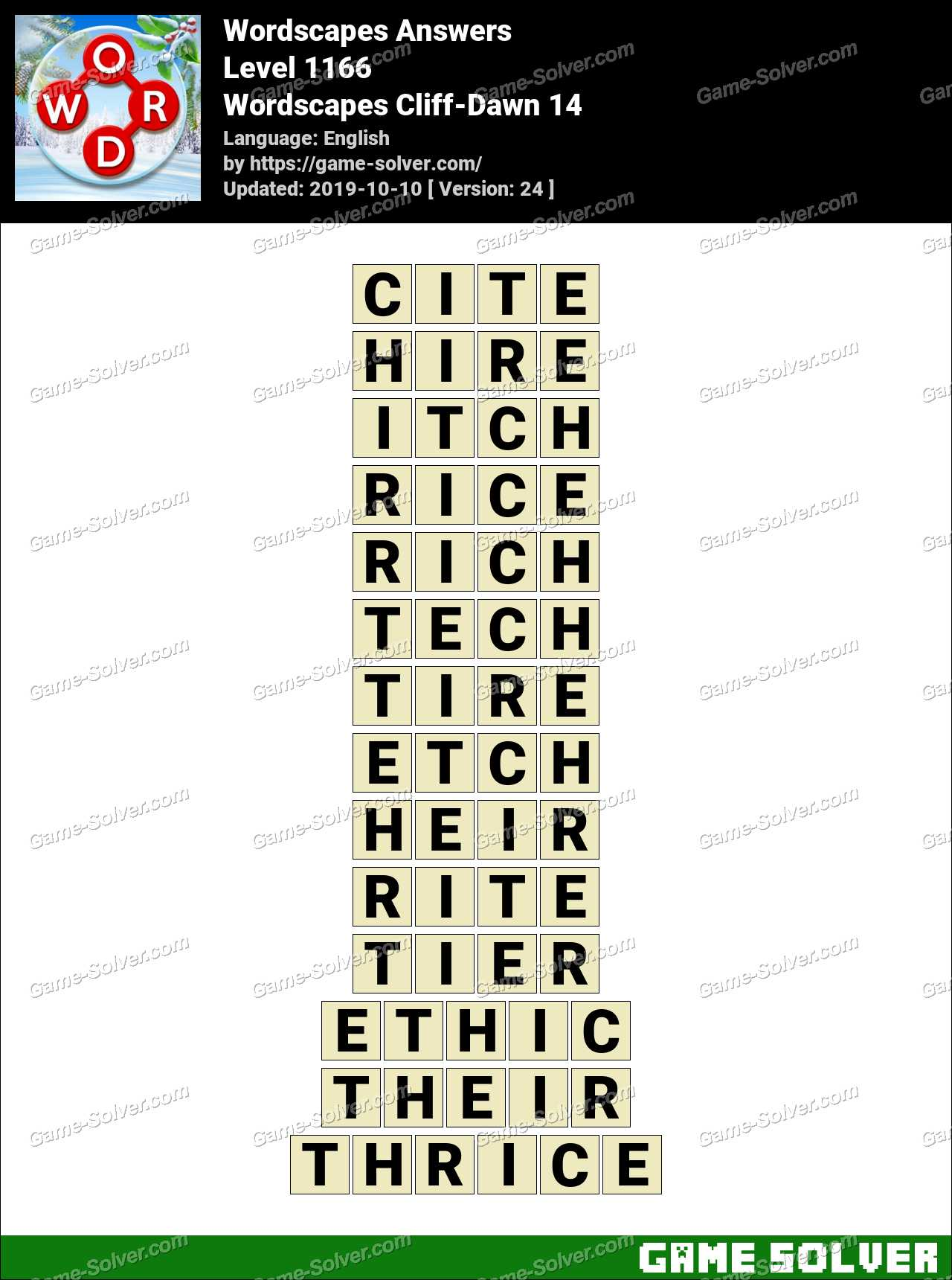 Wordscapes Cliff-Dawn 14 Answers