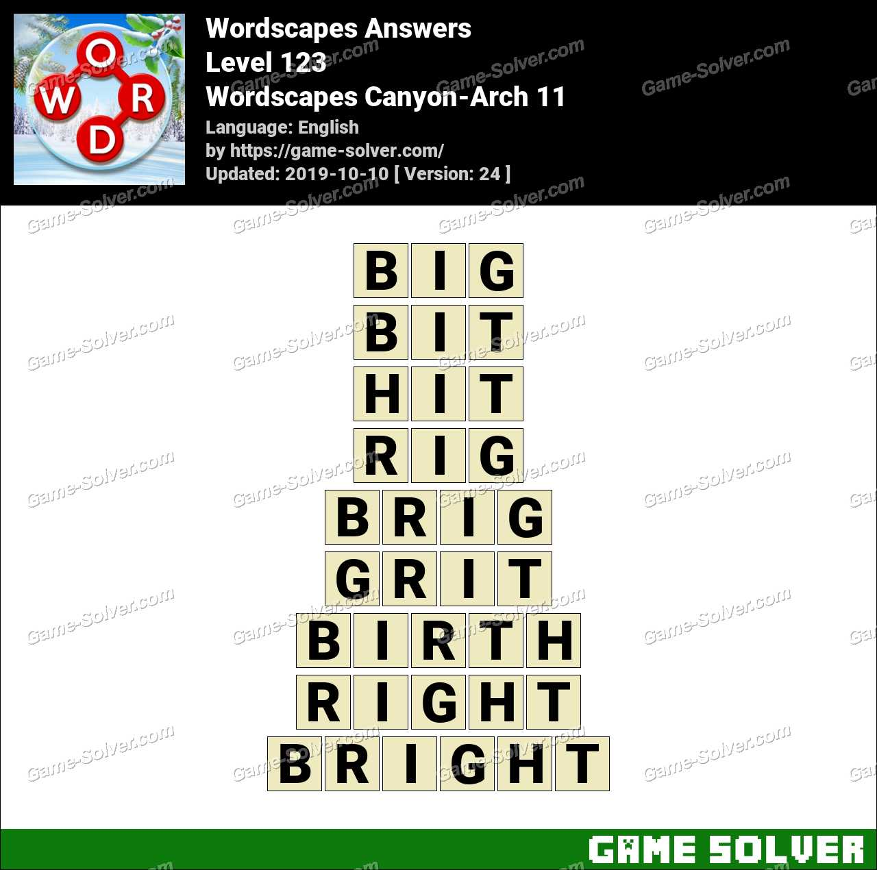 Wordscapes Canyon-Arch 11 Answers