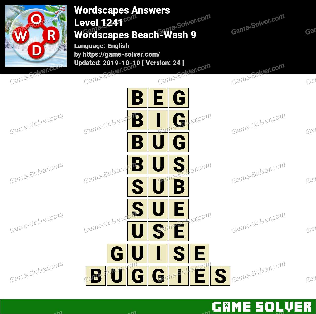 Wordscapes Beach-Wash 9 Answers