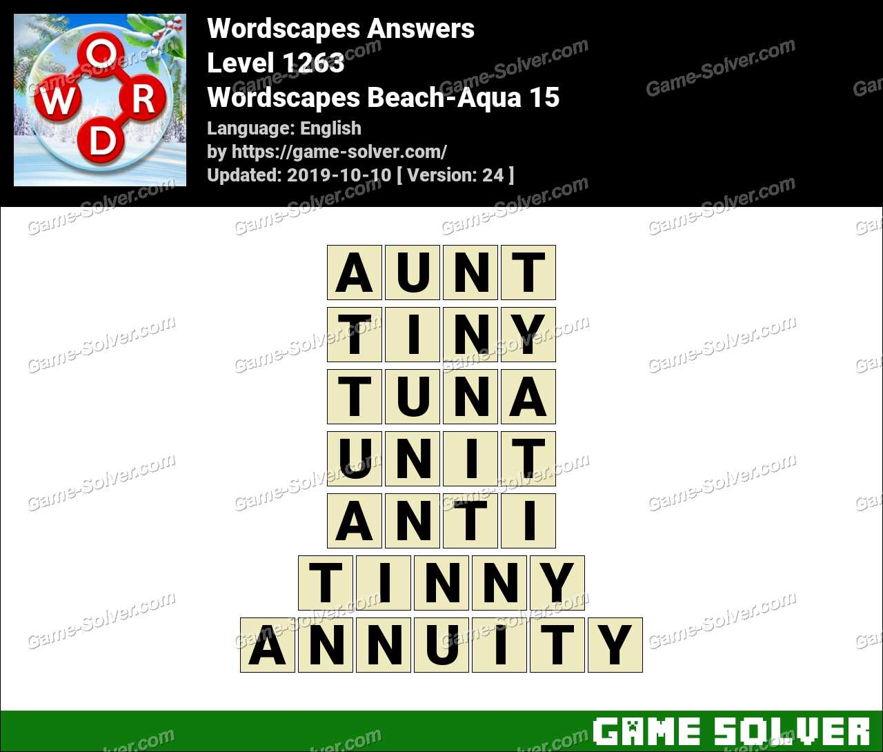 Wordscapes Beach-Aqua 15 Answers