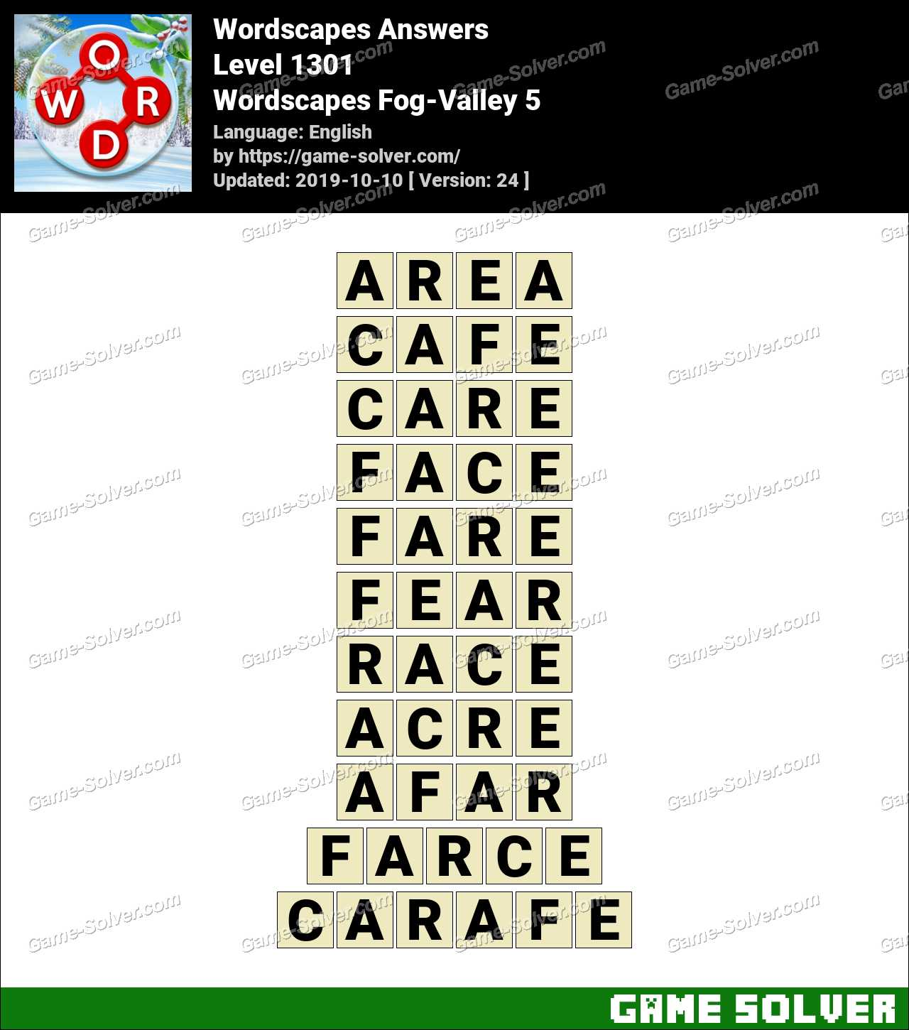Wordscapes Fog-Valley 5 Answers