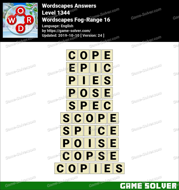 Wordscapes Fog-Range 16 Answers