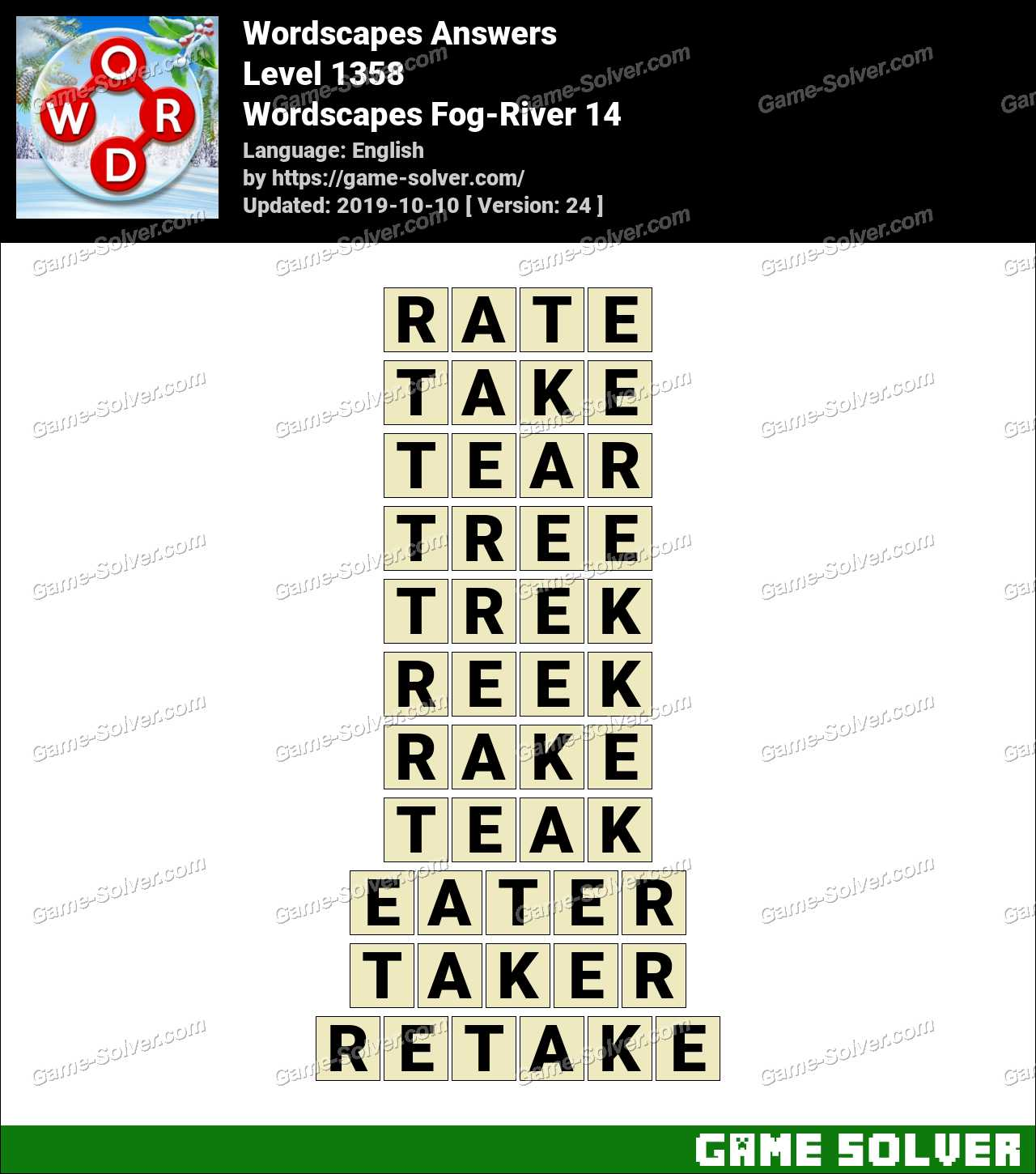 Wordscapes Fog-River 14 Answers