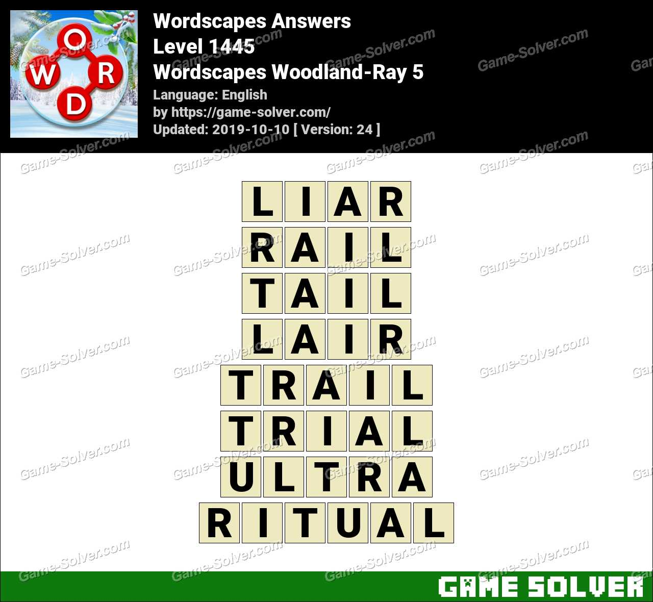 Wordscapes Woodland-Ray 5 Answers
