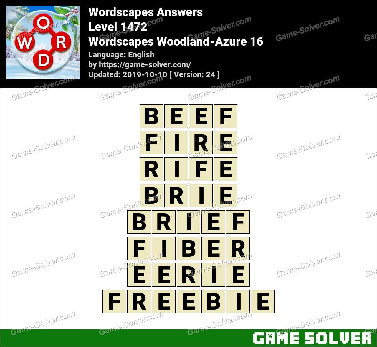 Wordscapes Woodland-Azure 16 Answers