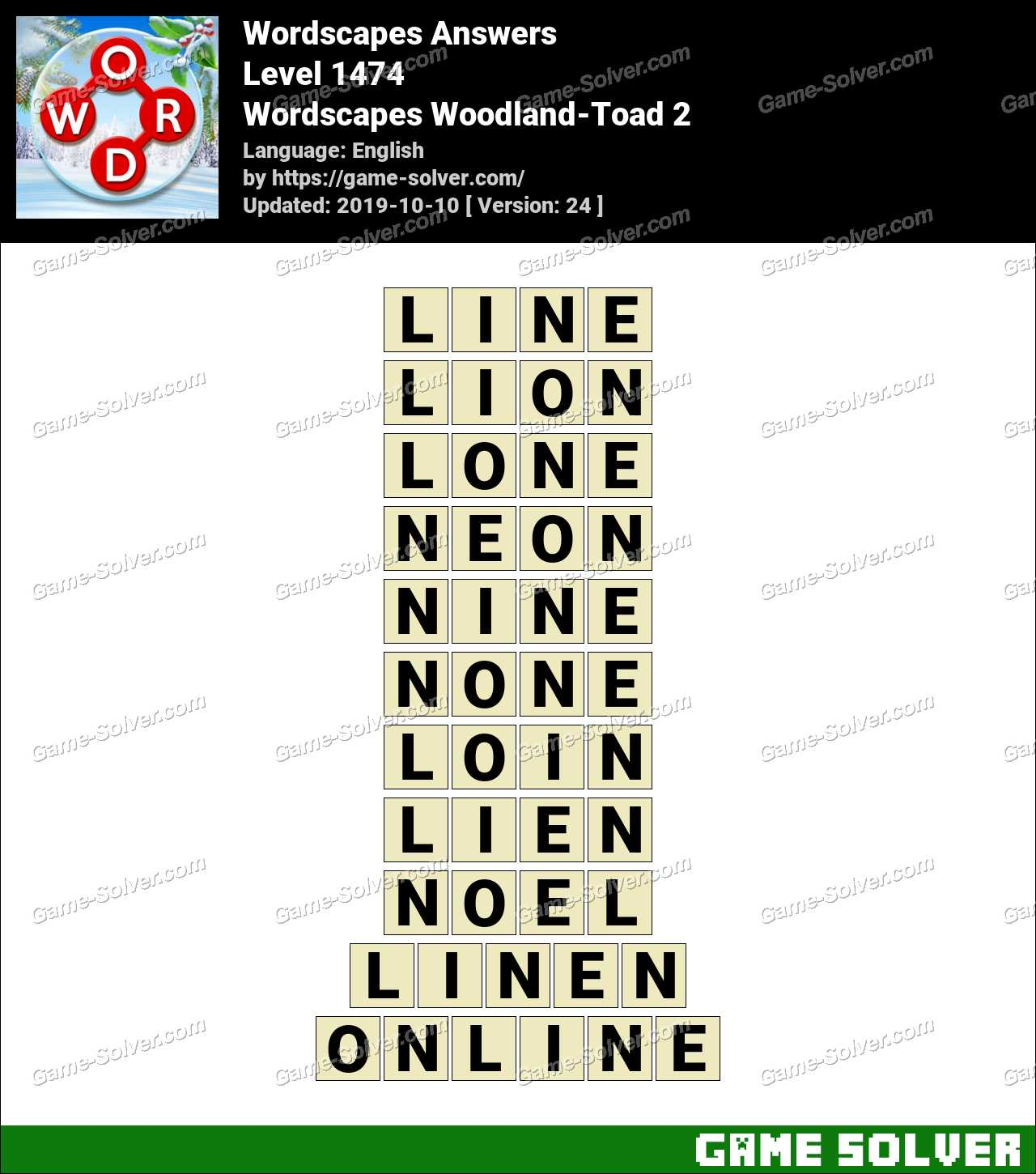Wordscapes Woodland-Toad 2 Answers