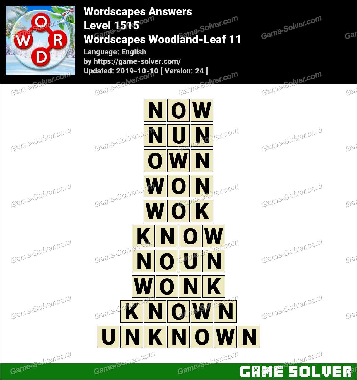 Wordscapes Woodland-Leaf 11 Answers