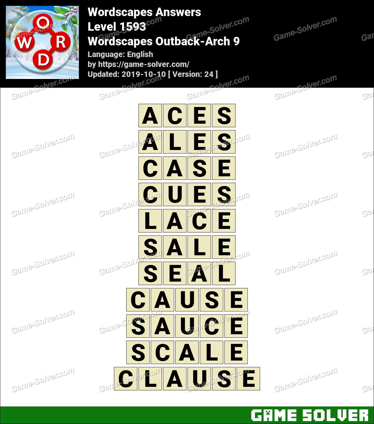 Wordscapes Outback-Arch 9 Answers