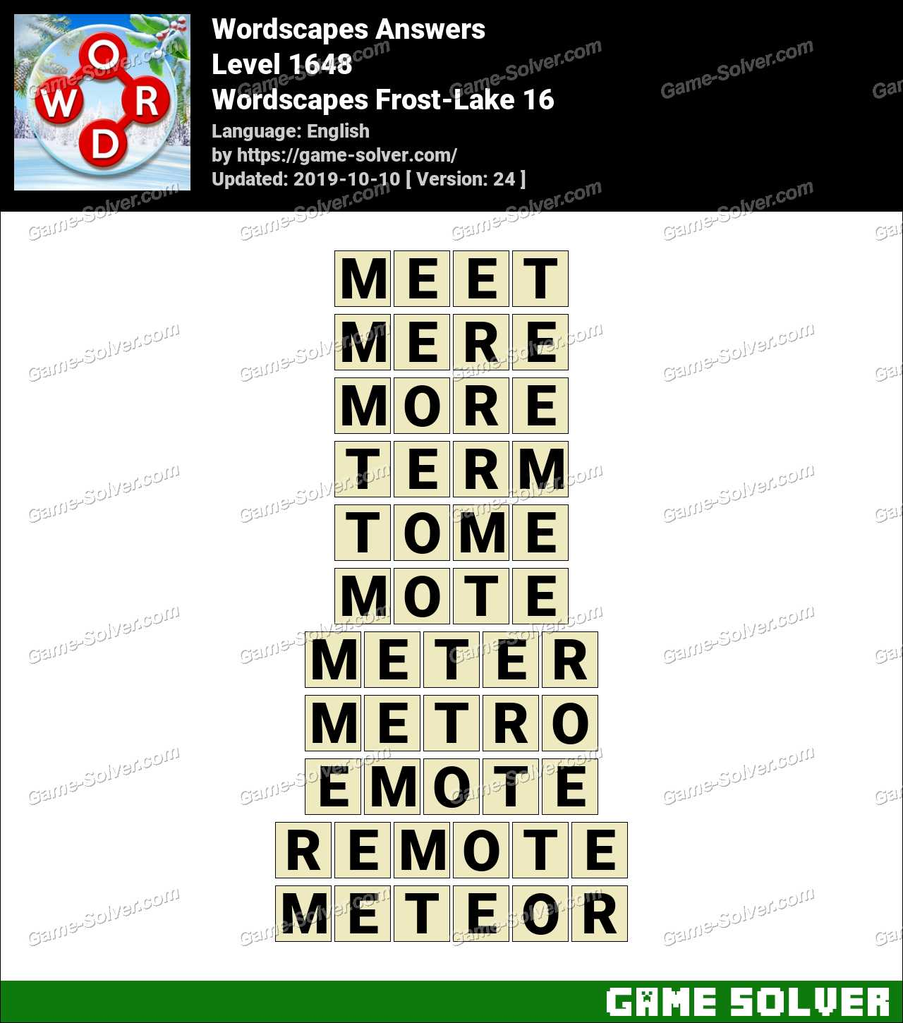 Wordscapes Frost-Lake 16 Answers