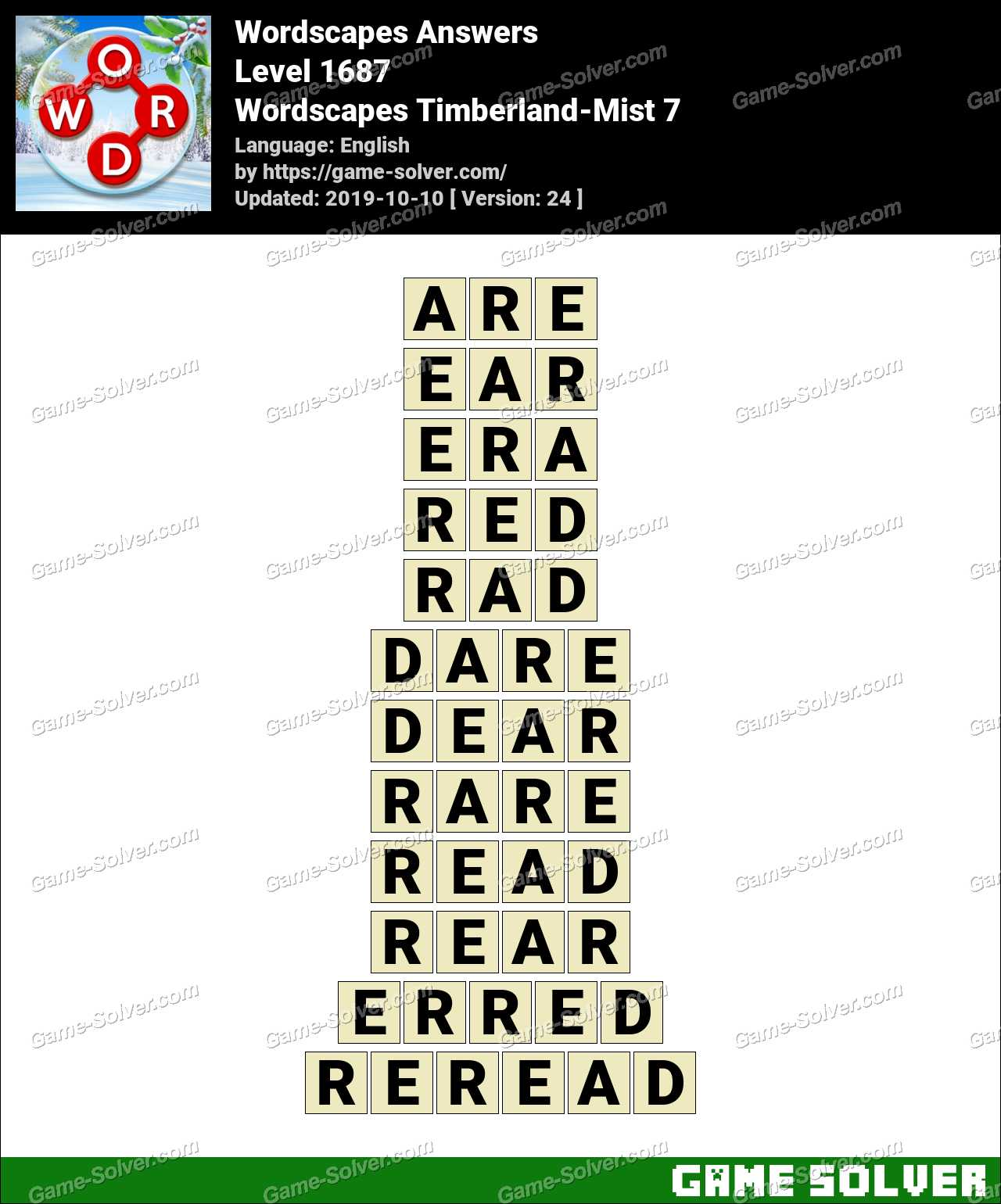 Wordscapes Timberland-Mist 7 Answers