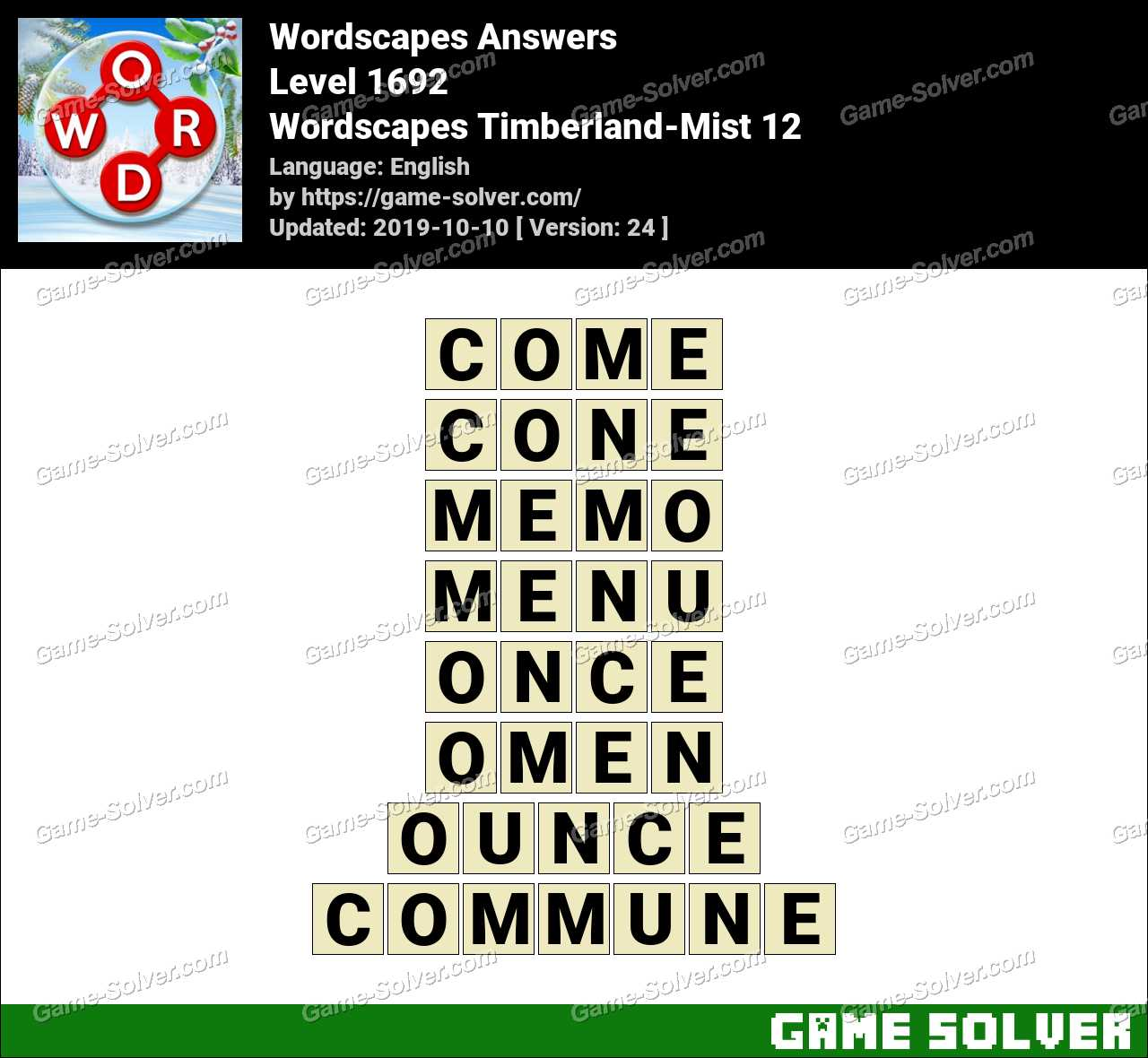 Wordscapes Timberland-Mist 12 Answers