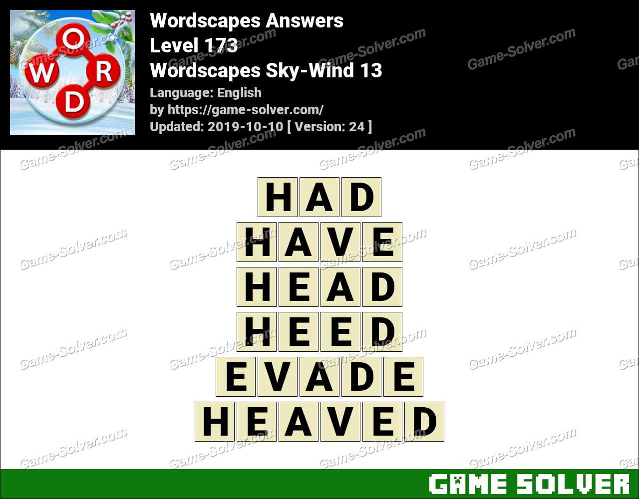 Wordscapes Sky-Wind 13 Answers