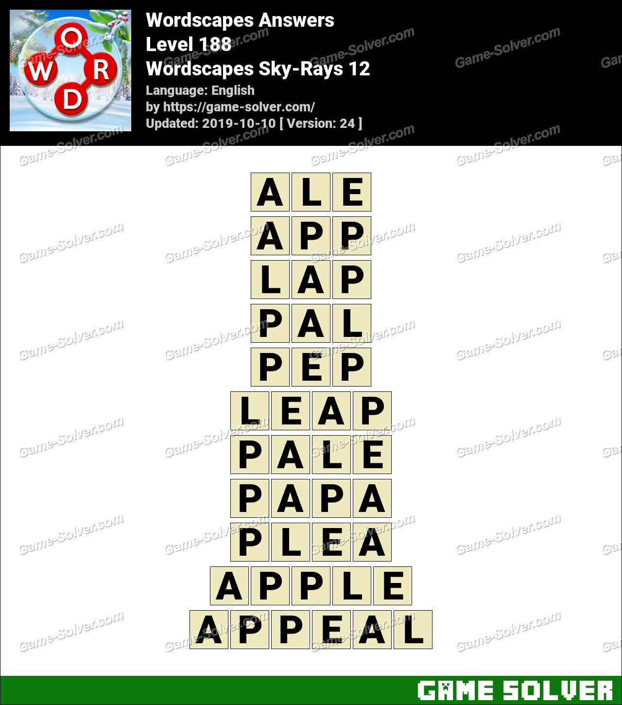 Wordscapes Sky-Rays 12 Answers