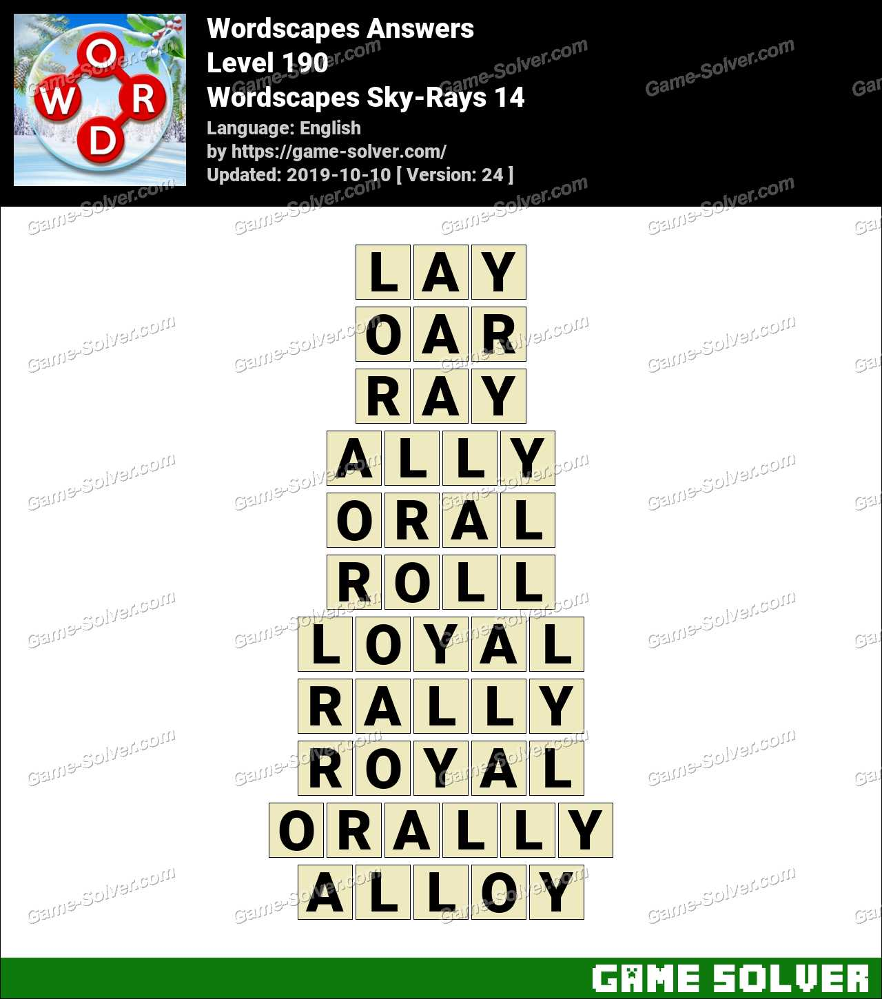 Wordscapes Sky-Rays 14 Answers