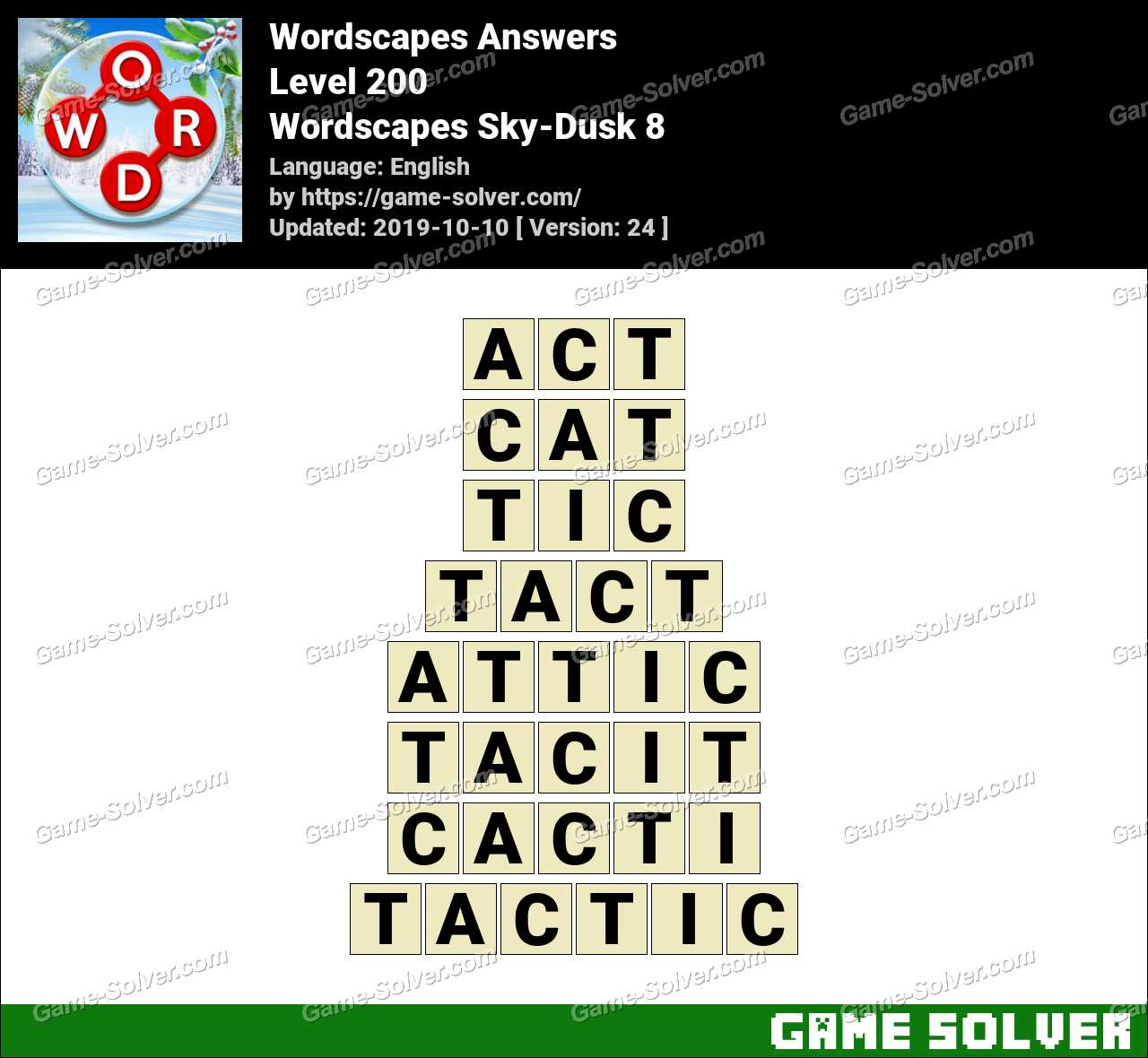 Wordscapes Sky-Dusk 8 Answers