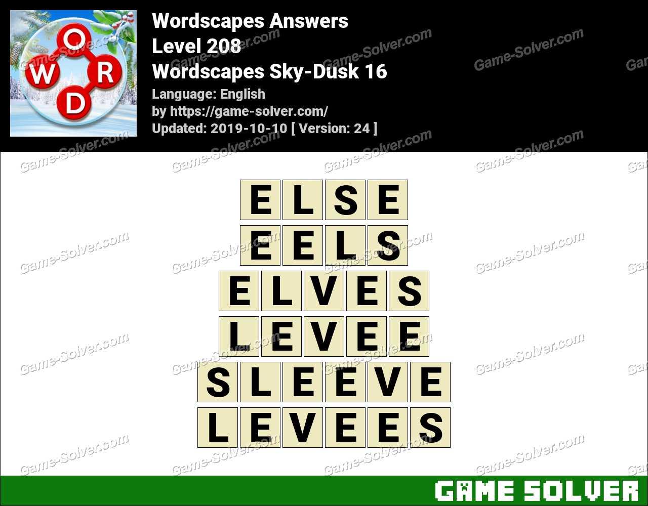 Wordscapes Sky-Dusk 16 Answers