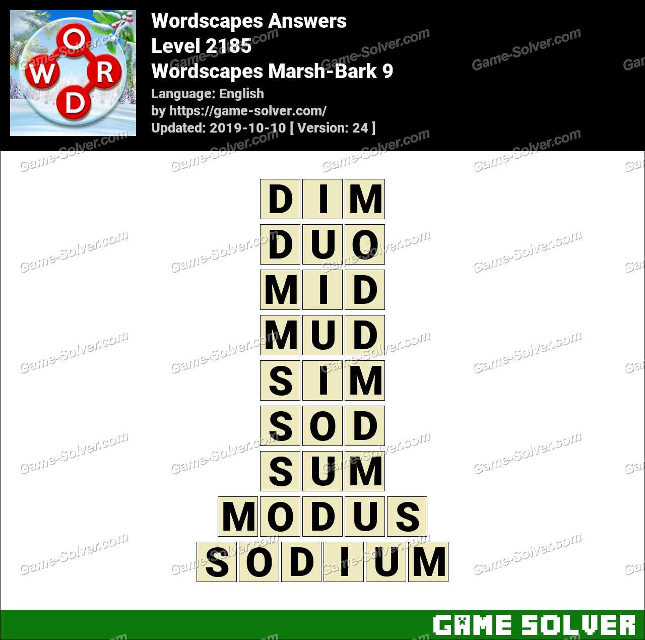 Wordscapes Marsh-Bark 9 Answers