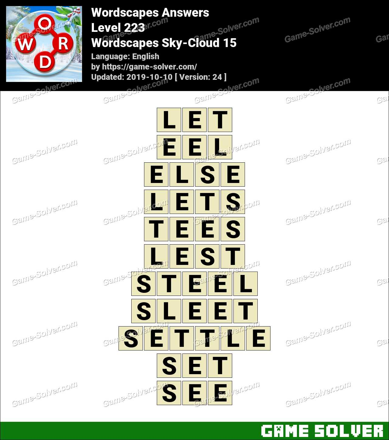 Wordscapes Sky-Cloud 15 Answers