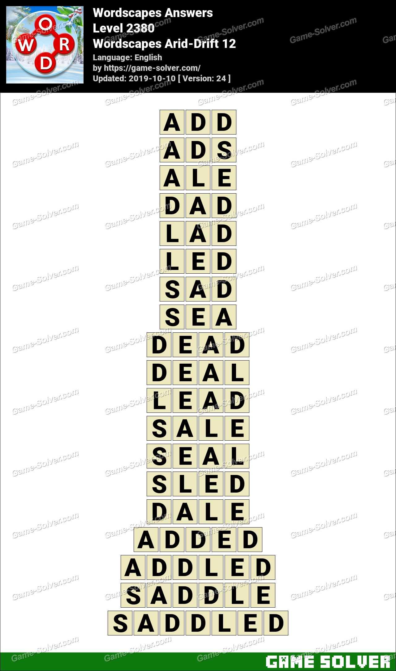 Wordscapes Arid-Drift 12 Answers