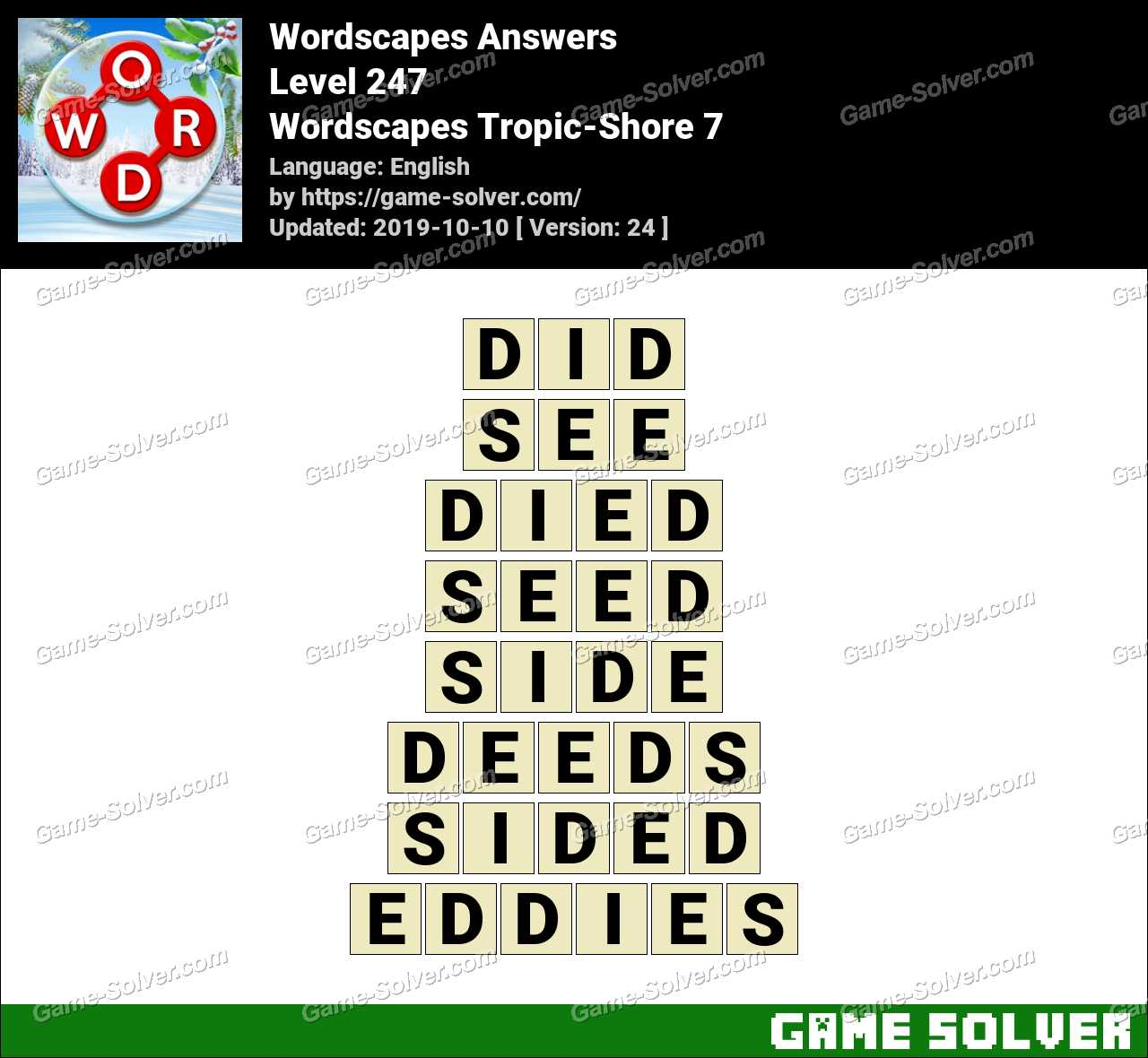 Wordscapes Tropic-Shore 7 Answers
