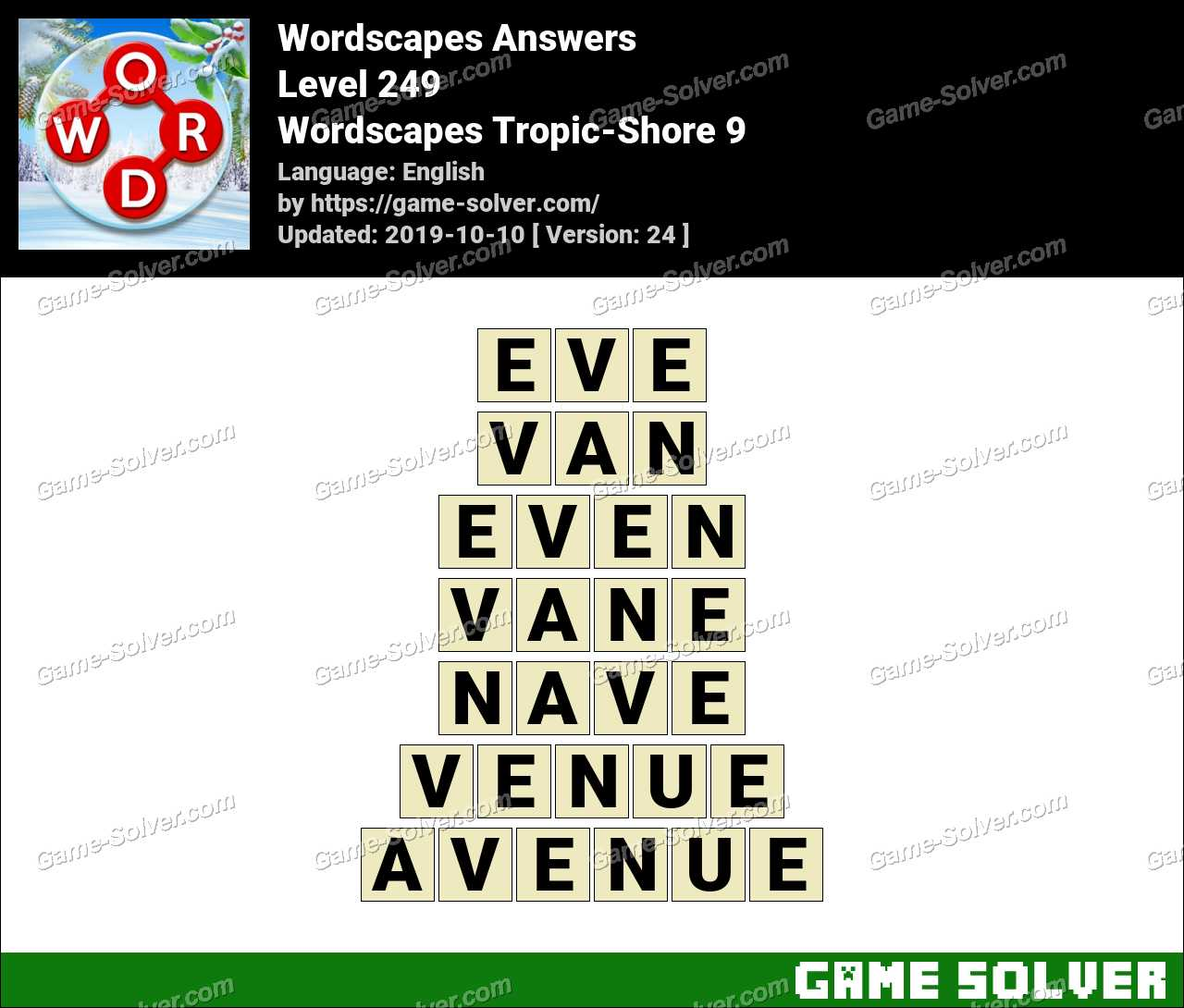 Wordscapes Tropic-Shore 9 Answers