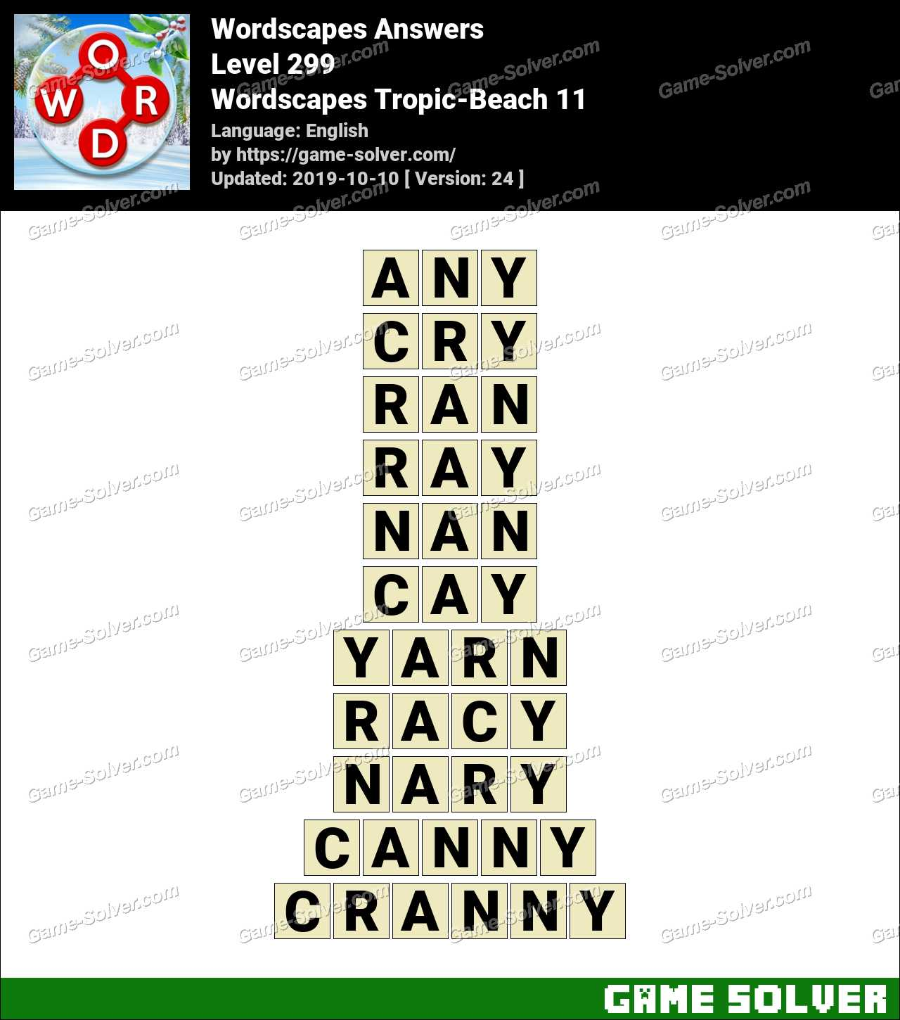 Wordscapes Tropic-Beach 11 Answers