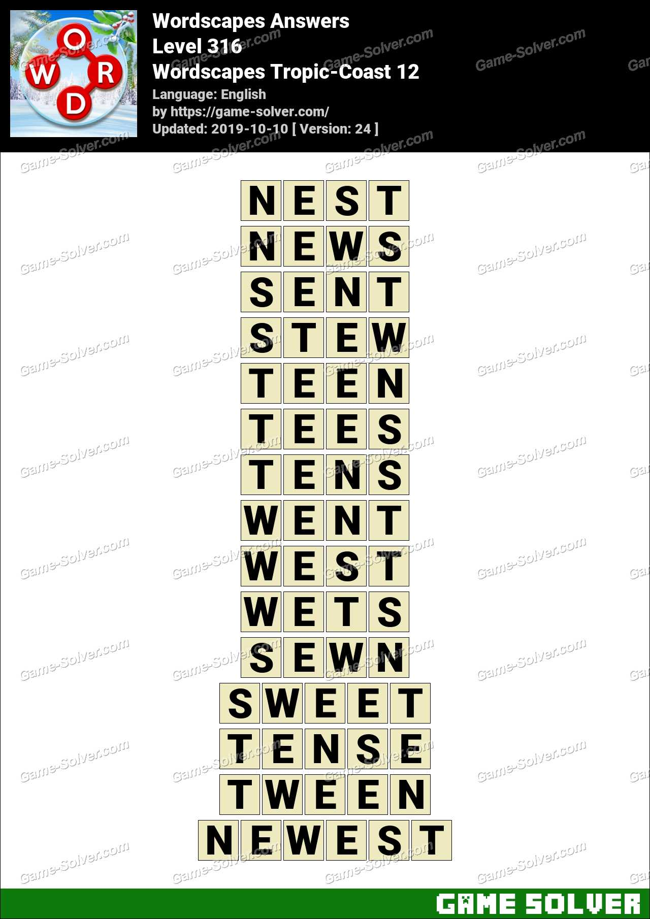 Wordscapes Tropic-Coast 12 Answers
