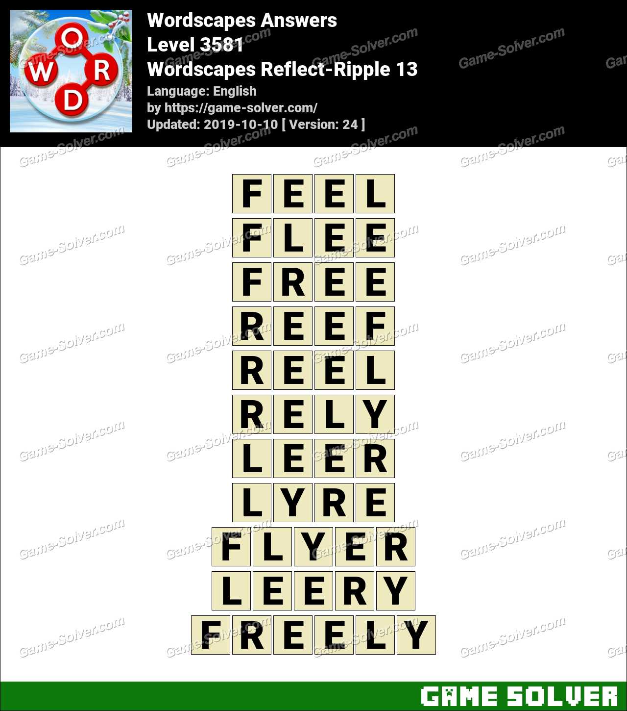Wordscapes Reflect-Ripple 13 Answers