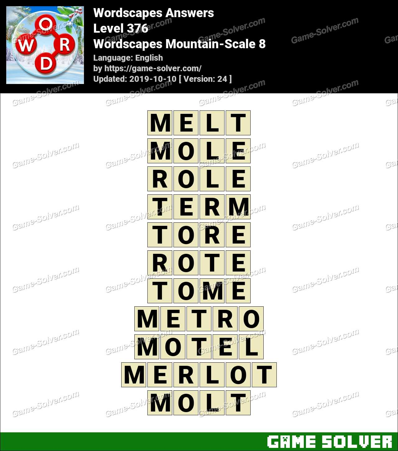 Wordscapes Mountain-Scale 8 Answers