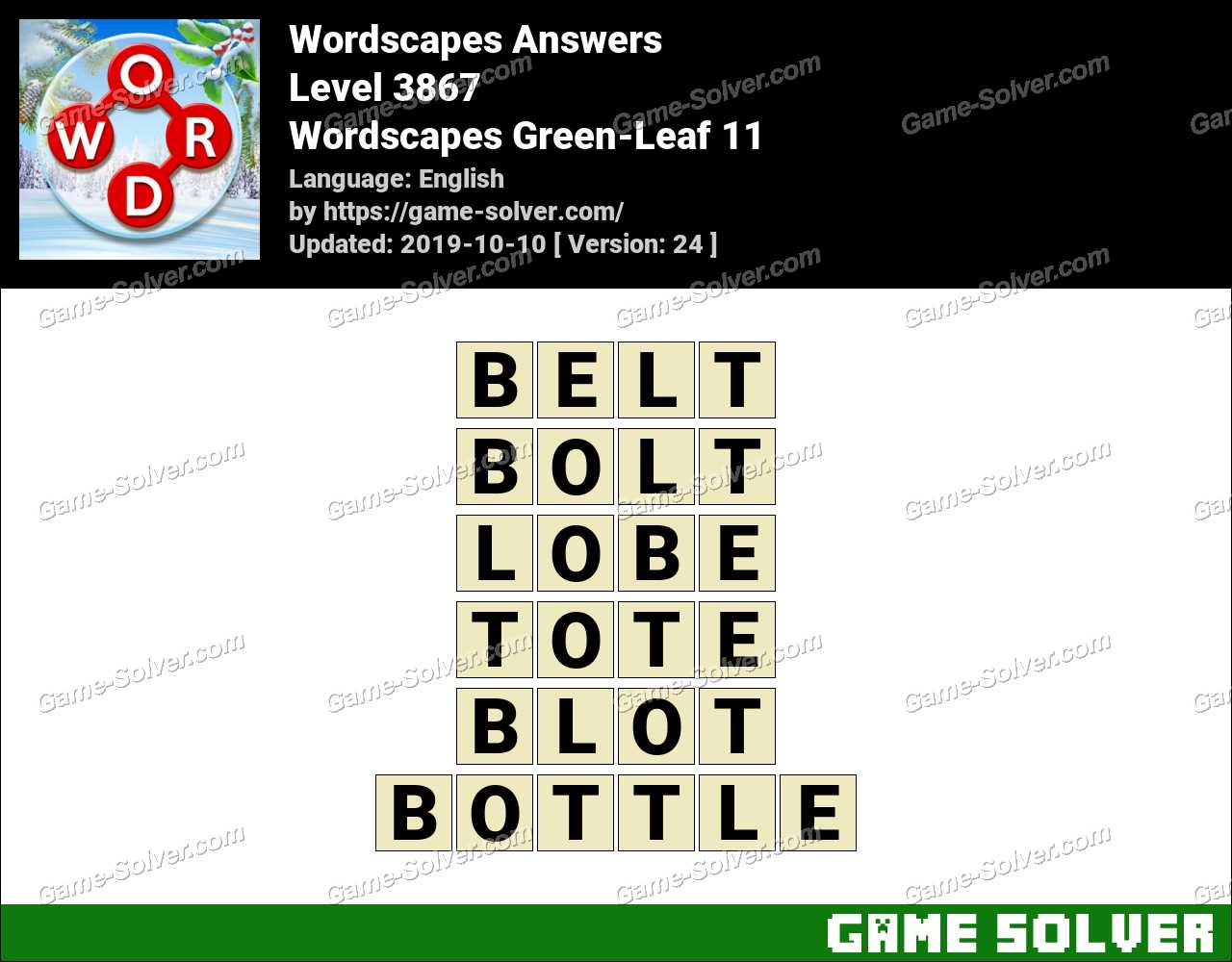 Wordscapes Green-Leaf 11 Answers