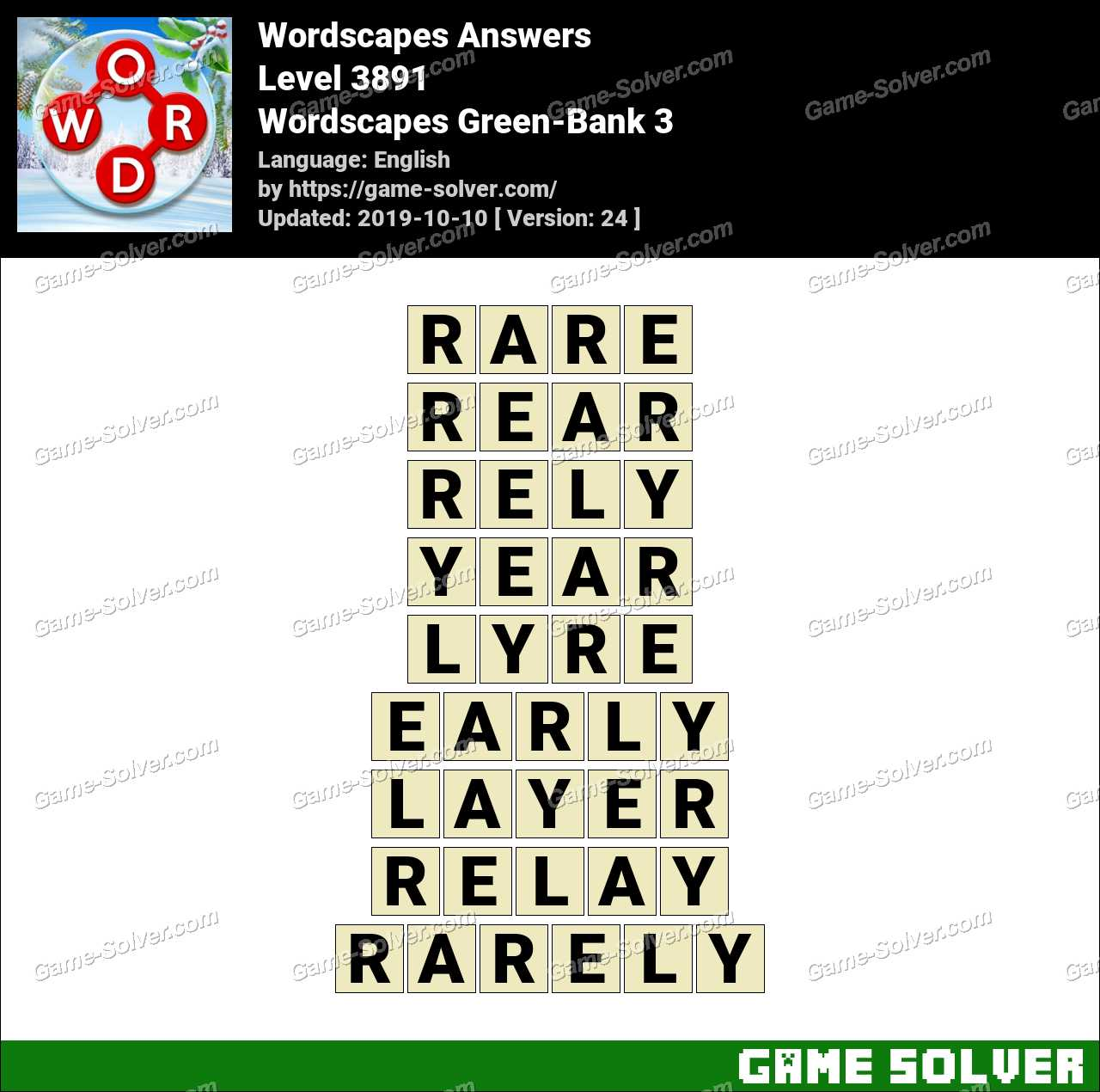 Wordscapes Green-Bank 3 Answers