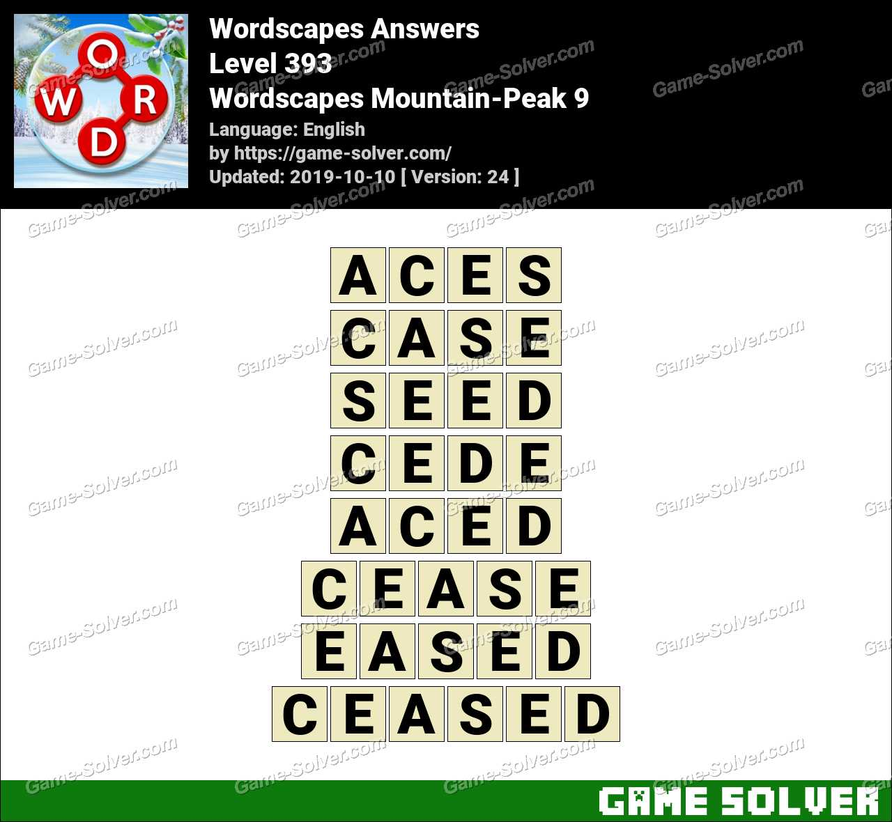 Wordscapes Mountain-Peak 9 Answers