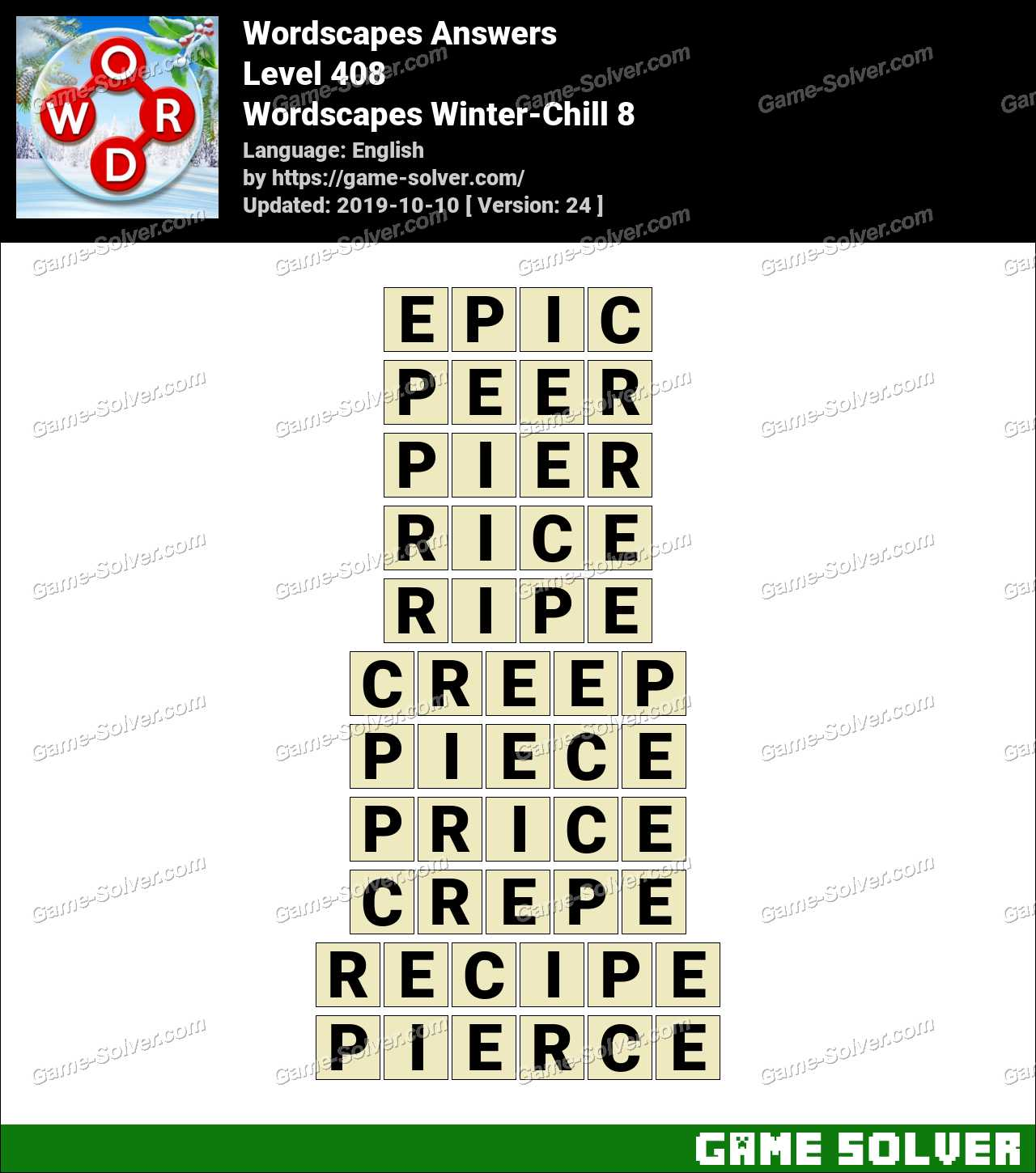 Wordscapes Winter-Chill 8 Answers