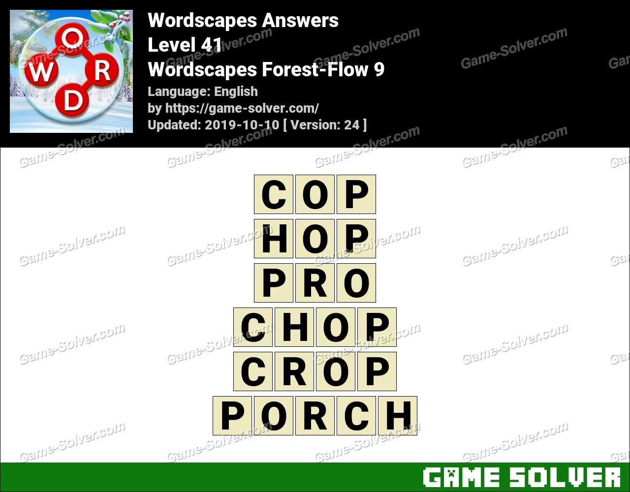 Wordscapes Forest-Flow 9 Answers